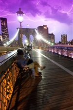 Preview iPhone wallpaper New York City, USA, bridge, people, storm, night, lightning
