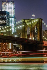 Preview iPhone wallpaper New York, USA, city night, bridge, lights, buildings