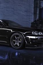 Preview iPhone wallpaper Nissan Skyline R34 GTR V black car, night