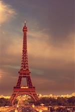 Preview iPhone wallpaper Paris, Eiffel Tower, France, road, cars, dusk