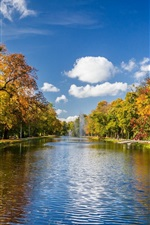 Preview iPhone wallpaper Park scenery, autumn trees, river, fountains, clouds