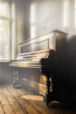 Preview iPhone wallpaper Piano, music, room, sun rays