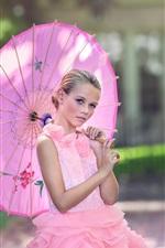 Preview iPhone wallpaper Pink dress girl, umbrella, bokeh