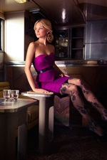 Preview iPhone wallpaper Purple skirt, girl, stockings, legs, house