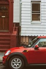 Red Mini car, street, Brooklyn, New York City, USA