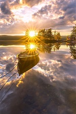 Preview iPhone wallpaper Ringerike, Norway, beautiful sunset, lake, water reflection, boat, trees