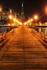 San Francisco, Califórnia, EUA, bela noite, ponte, luzes
