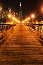 Preview iPhone wallpaper San Francisco, California, USA, beautiful night, bridge, lights
