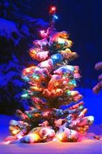 미리보기 iPhone 배경 화면 숲, 크리스마스 트리 눈과 조명