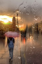 Preview iPhone wallpaper St. Petersburg, Nevsky prospect, rain, girl, night, lights, creative design