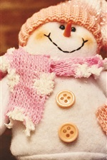 Preview iPhone wallpaper Stuffed toy, snowman, scarf, hat, buttons, winter