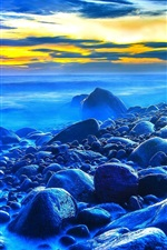 Preview iPhone wallpaper Sunset, sea, stones, dusk, blue style