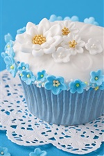 Preview iPhone wallpaper Sweet food, cake, flowers, blue background