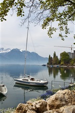 Preview iPhone wallpaper Switzerland, Montreux, sailing, boats, coast, mountains, houses