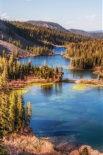 Preview iPhone wallpaper Twin Lakes, California, USA, mountains, trees
