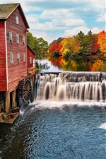 Preview iPhone wallpaper USA, Wisconsin, water mill, river, waterfalls, trees, autumn
