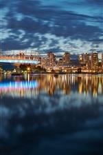 Vancouver, Canada, city, night, lights, skyscrapers, buildings