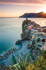 Vernazza, Cinque Terre, Liguria, Italy, sea, ocean, coast, sunset, houses