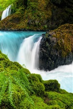 Preview iPhone wallpaper Waterfalls, Columbia River Gorge, Washington, USA, stones, moss