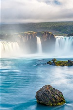 Preview iPhone wallpaper Waterfalls, river, beautiful landscape, river, stones, clouds