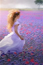 Preview iPhone wallpaper White dress girl, flowers field