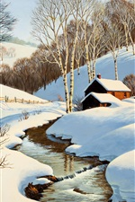 Preview iPhone wallpaper Winter scenery painting, stream, house, road, trees, snow