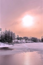 Preview iPhone wallpaper Winter, snow, forest, river, ice, sun, clouds, dusk