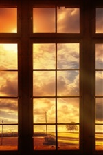 Preview iPhone wallpaper World outside the window, clouds, dusk