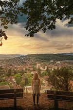 Preview iPhone wallpaper Zurich, Switzerland, city, town, houses, girl, trees
