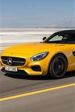 Preview iPhone wallpaper 2014 Mercedes-Benz AMG GT C190 yellow supercar speed