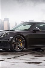 Preview iPhone wallpaper 2014 Porsche 911 Carrera Turbo, Stinger GTR 991 black car