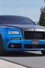 Preview iPhone wallpaper 2015 Mansory Rolls-Royce Wraith blue luxury car front view