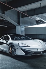 Preview iPhone wallpaper 2015 McLaren 570S white supercar, parking