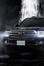 Preview iPhone wallpaper 2015 Toyota Land Cruiser 200 JP-spec black car