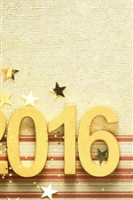 Preview iPhone wallpaper 2016 Happy New Year, golden, numbers, stars