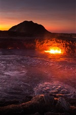 Preview iPhone wallpaper Africa, Ethiopia, volcano, lava, mountains, dawn