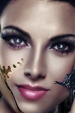 Preview iPhone wallpaper Art creative, girl, cyborg, eyes, face, arms, revolver