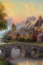 Preview iPhone wallpaper Art painting, cobblestone bridge, cottage, river, houses, trees