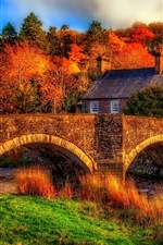Preview iPhone wallpaper Autumn, river, bridge, house, trees, HDR scenery