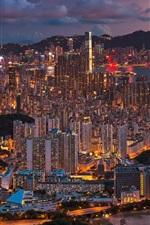 Preview iPhone wallpaper Beautiful city night, Hong Kong, China, buildings, lights