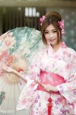 Preview iPhone wallpaper Beautiful japanese girl, kimono, umbrella