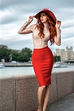 Preview iPhone wallpaper Beautiful red hair girl, portrait, hat, shirt, skirt, Moscow
