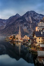 Preview iPhone wallpaper Beautiful town, Hallstatt, Austria, Alps, lake, mountains, houses, dawn