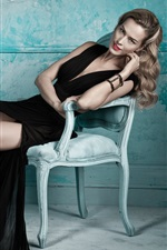 Preview iPhone wallpaper Blonde girl, black dress, legs, posture, chair