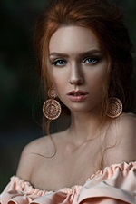 Preview iPhone wallpaper Blue eyes girl, red hair, portrait