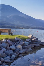 Preview iPhone wallpaper British Columbia, Canada, lake, mountains, bench, grass, stones