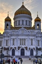 Preview iPhone wallpaper Cathedral, Church, Moscow, Russia, people, dusk