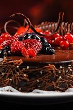 Preview iPhone wallpaper Chocolate cake, berries, raspberries, blueberries, currants, dessert