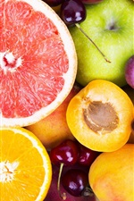 Preview iPhone wallpaper Colorful fruits, berries, oranges, grapes, grapefruit