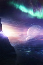 Preview iPhone wallpaper Desktopography, creative pictures, planet, ship, northern lights, water